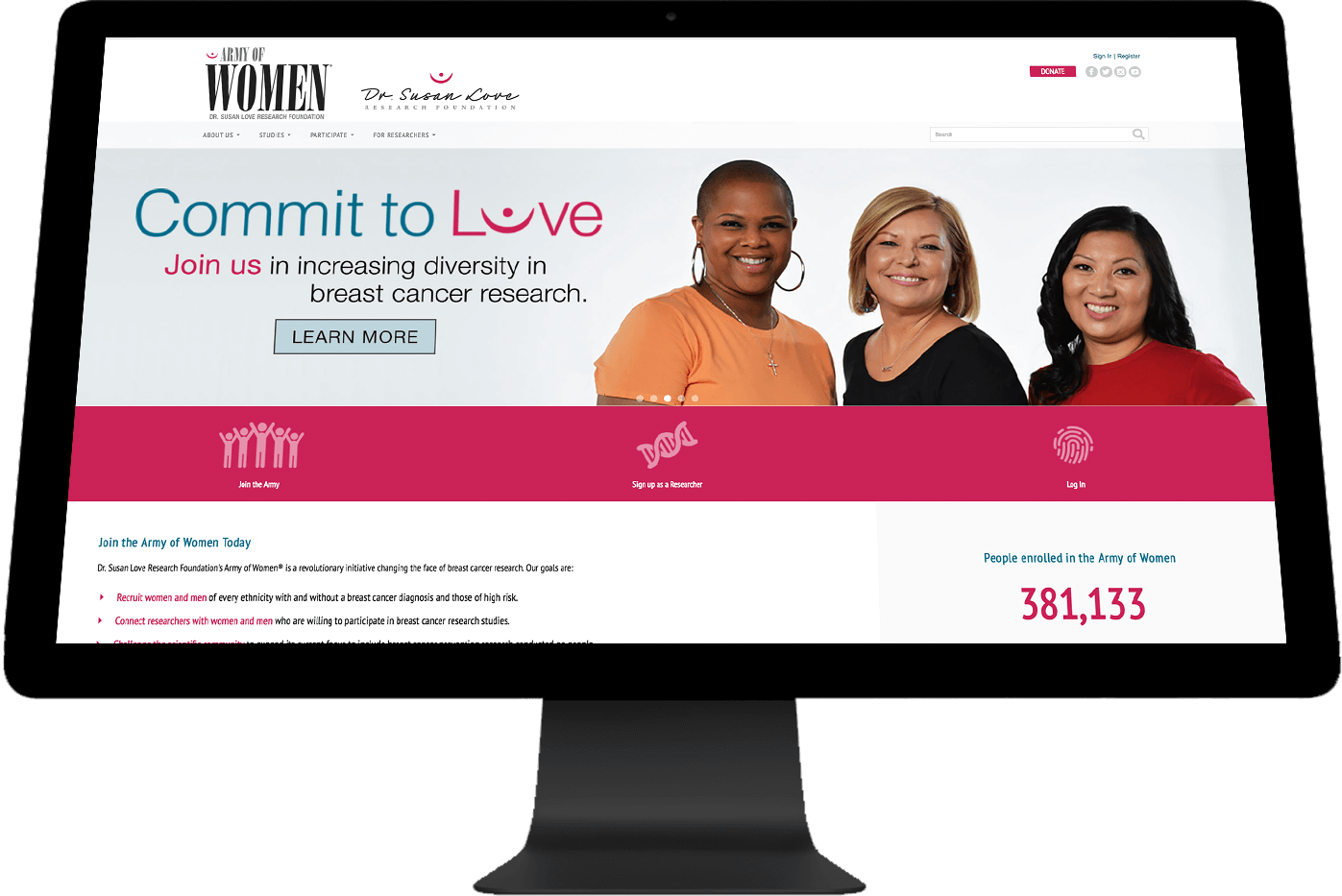 Army of Women landing page on a wide screen device