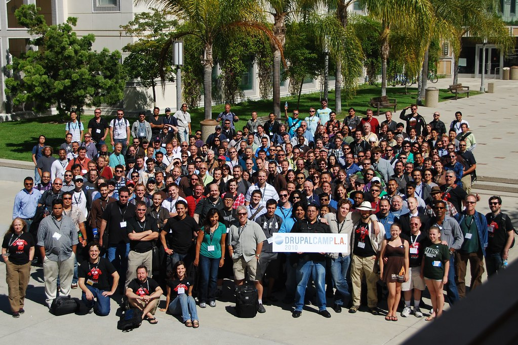 About 200 happy attendees from DrupalCamp LA 2010