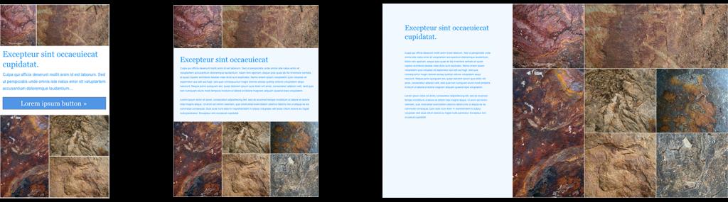 visual representation of progressive enhancement, content optimized for each layout